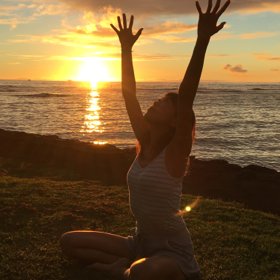 Hawaiian sunset yoga in Ala Moana beach park